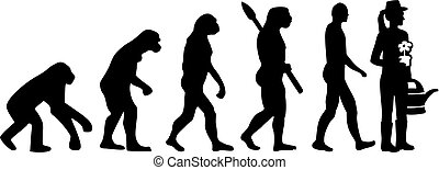 évolution, jardinier, femme
