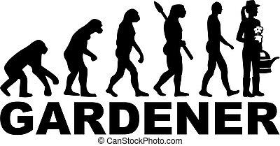 évolution, mot, jardinier, femme