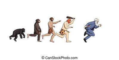 évolution, progression, théorie, humanité, dessin animé, homme
