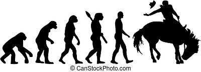 évolution, rodéo, cheval, homme
