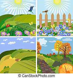 évszaki, liget, dombok, táj