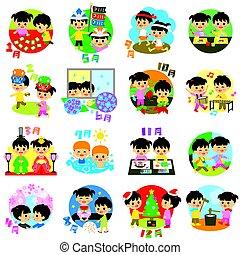évszaki, naptár, gyerekek, esemény, japán