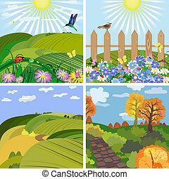évszaki, táj, liget, és, a, dombok