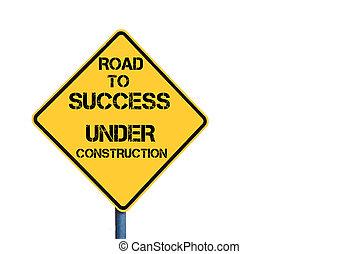 éxito, amarillo, roadsign, construcción, debajo, mensaje, camino