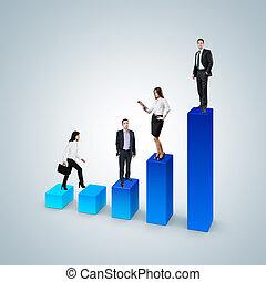 éxito, carrera del negocio, escalera, subida, concept.