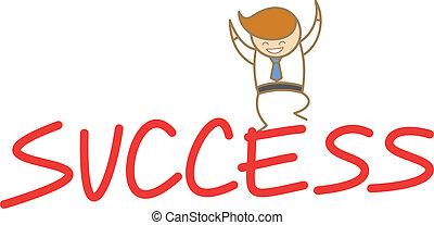 éxito, cima, carácter, saltar, feliz, caricatura, hombre