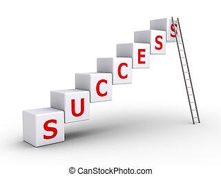 éxito, cubos, y, un, escalera