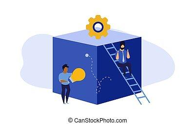éxito, eficiente, global, desarrollo, delantero, empleado, acción, crecer, trabajo en equipo, en línea, character., líder, vector, carrera, trabajo, illustration., virtual, allocation., cooperación, futuro, edificio, empresa / negocio