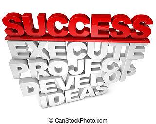 éxito, ejecute, proyecto, desarrolle, ideas