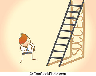 éxito, empresa / negocio, carácter, escalera, pregunta, caricatura, hombre