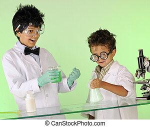 éxito, enojado, scientist's