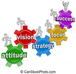 éxito, gente, subida, visión, estrategia, engranajes, lograr
