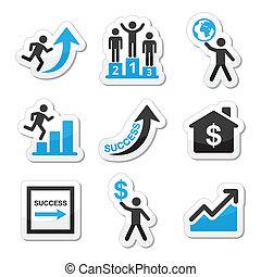 éxito, iconos del negocio