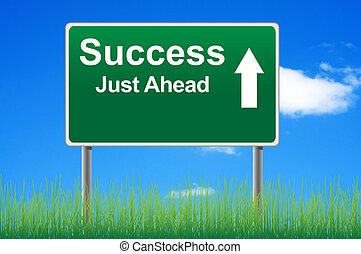 éxito, muestra del camino, en, cielo, plano de fondo, pasto o césped, underneath.