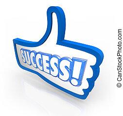 éxito, palabra, el pulgar está subido, como, aprobación, reacción, clasificación