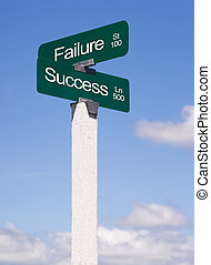 éxito, señales, encrucijada, fracaso, calle, avenida, señal, cielos azules, c