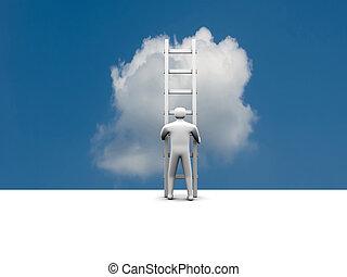 éxito, subidas, escalera, virtual, carrera, hombre