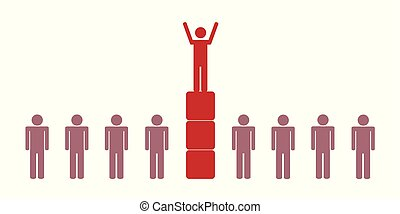 éxito, uno, pictogram, persona