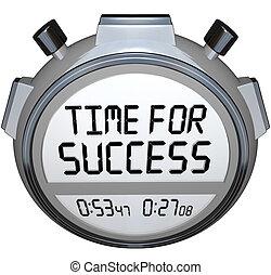 éxito, victoria, avisador, carrera, palabras, tiempo, cronómetro