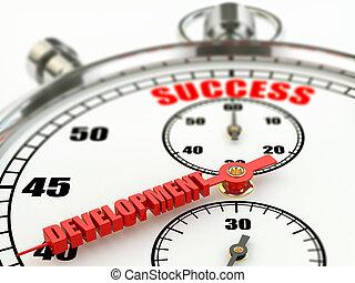 éxito, y, desarrollo, concept., stopwatch.