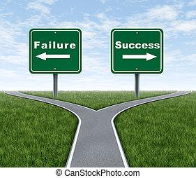 éxito, y, fracaso