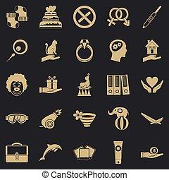 éxtasis, conjunto, estilo, iconos simples