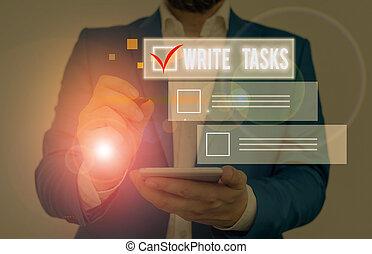 être, écriture, dans, travail, tasks., certain, time., écriture, souvent, texte, écrire, assigné, morceau, concept, fini, signification