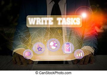 être, écriture, travail, signification, écrire, souvent, texte, dans, assigné, time., morceau, concept, fini, tasks., certain