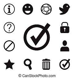 être, 12, ensemble, emoji, signet, mobile, icons., boîte, editable, utilisé, interroger, symboles, infographic, ui, toile, internet, tel, more., inclut, design.
