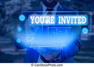 être, accueil, photo, note, célébration, vous, nous, invited., re, écriture, business, s'il vous plaît, projection, joindre, guest., notre, showcasing
