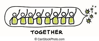 être, affects, chaque, viral, dont, positif, séjour, graphique, prévenant, worl, infographic., everyone., bannière, large, couronne, virus, pandémie, aide, covid, agrafe, stickman, autre, affiche, toucher, 19, espèce, art., soutien de communauté