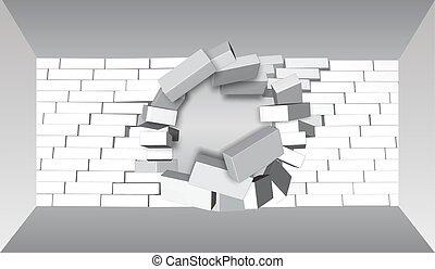 être, apart., mur, résumé, rupture, wall., arrière-plan., cassé, brique, 3d, ou, destruction