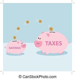 être, argent, taxes., payer, porcin, permis, banque