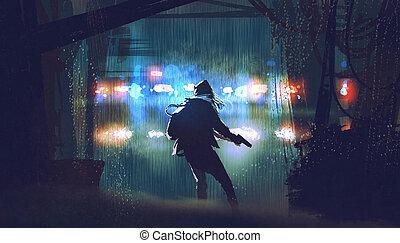 être, attrapé, police, voleur, fusil