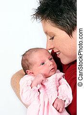être, bébé, aimer, montre, mère