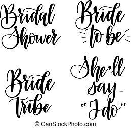 être, bachelorette, mariée, vecteur, conception, fête, calligraphie