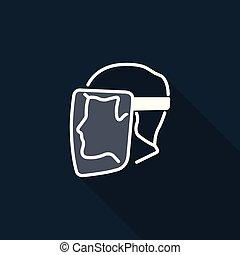 être, bouclier, symbole, porté, figure, arrière-plan noir, signe, devoir