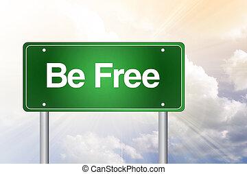 être, business, gratuite, panneaux signalisations, vert, concept