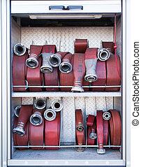 être, camion, firehoses, utilisé, pompiers
