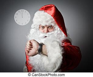 être, claus, concept, santa, late.