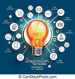 être, concept, bannière, diagramme, flot travail, lumière, idées, utilisé, disposition, toile, infographic, boîte, template., ampoule, conception