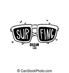 être, conception, magasin, aviateur, dessiné, logo, ressac, écusson, utilisé, lunettes soleil, affiche, club, illustration, main, étiquette, impression, surfer, emblème, élément, vecteur, boîte, vêtements