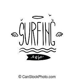 être, conception, magasin, aviateur, dessiné, ressac, écusson, vie, utilisé, affiche, motivation, club, citation, main, étiquette, illustration, impression, surfer, emblème, élément, vecteur, boîte, mon, vêtements