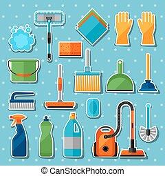 être, conceptions, utilisé, ménage, icônes, set., boîte, sites, bannières, toile, image, autocollant, nettoyage