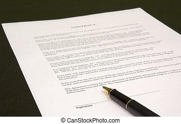 être, contrat, signé