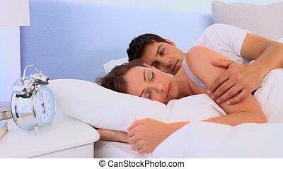 être, couple, haut, réveiller, leur, agréable