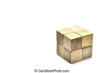 être, cubes, work., business, bois, grand, une, concept, équipe, petit, 8