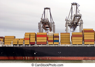 être, déchargé, containership