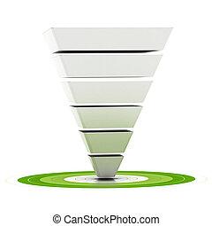 être, diagramme, entonnoir, boîte, sur, étapes, cible, fond, facilement, entonnoir, pointage, ventes, customizable, vert, utilisé, six, commercialisation, blanc