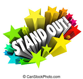 être, différent, unique, mots, stand, étoiles, competiti, spécial, dehors